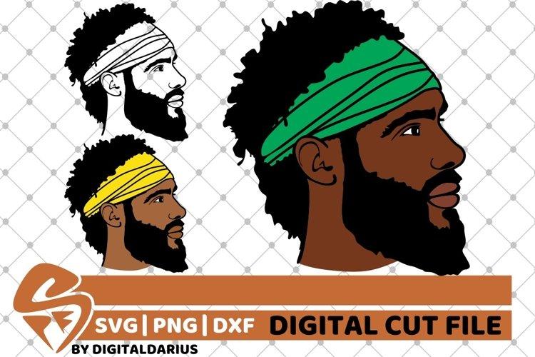 3x Afro Man with headband svg, Dreadlocks svg, Beard Man svg example image 1