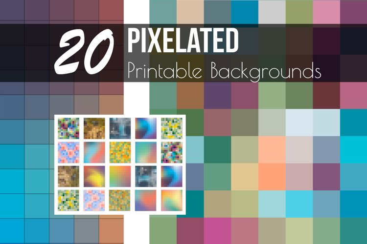 Pixelated Printable Backgrounds & Photoshop Layer Styles