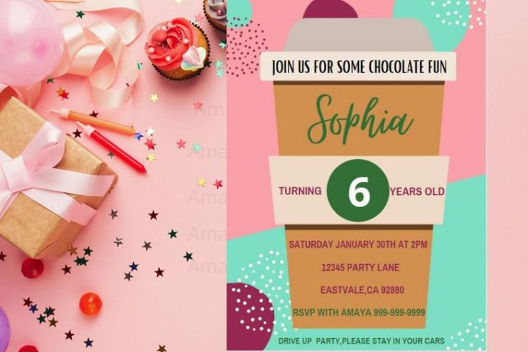 Hot Chocolate Birthday Invitations, Canva Template example image 1