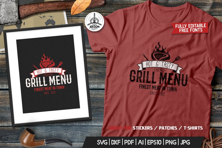 Grill BBQ Logo Design for TShirt Retro Vector SVG Cut File