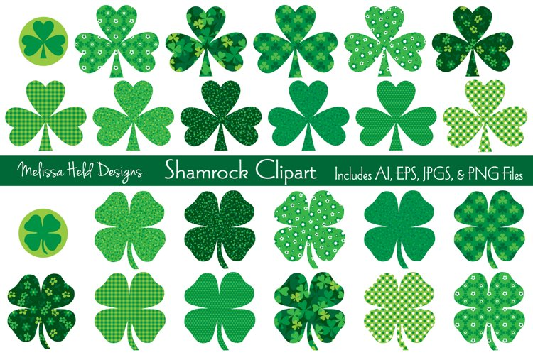 St. Patrick's Day Shamrock Clipart example image 1