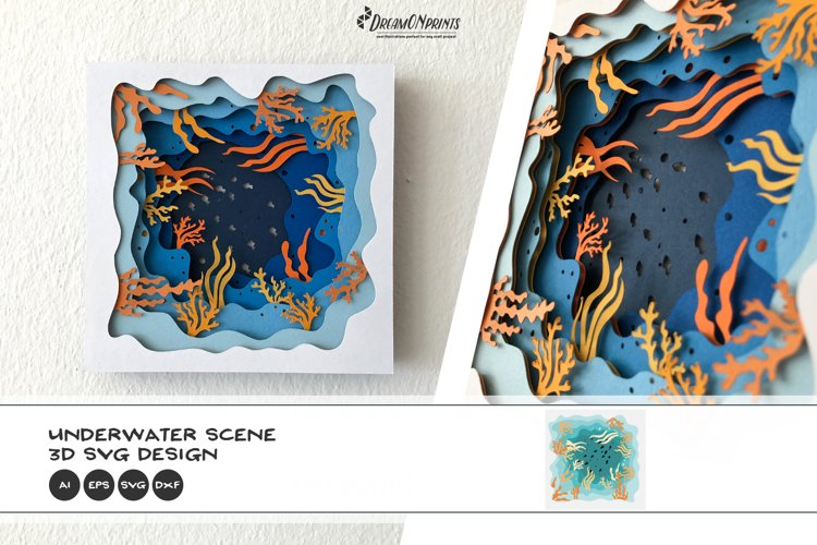 Underwater Scene 3D Layered SVG   Ocean Multi Layer SVG