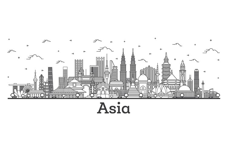 Asian Landscape. Outline Famous Landmarks in Asia. example image 1