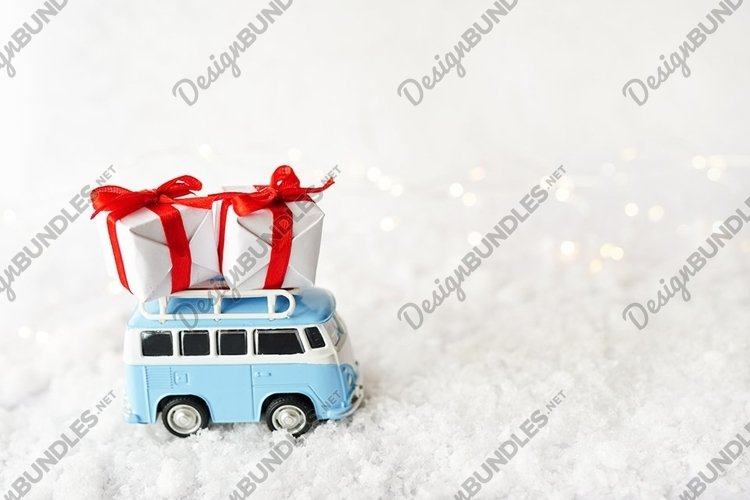 Christmas Card with vintage blue bus and gift boxes example image 1
