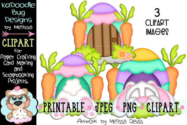 Easter Bunny Egg House Clipart - 3 JPEG PNG Print Then Cut