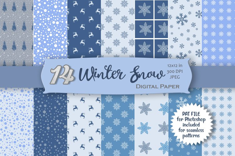 Winter Snow Digital Paper example image 1