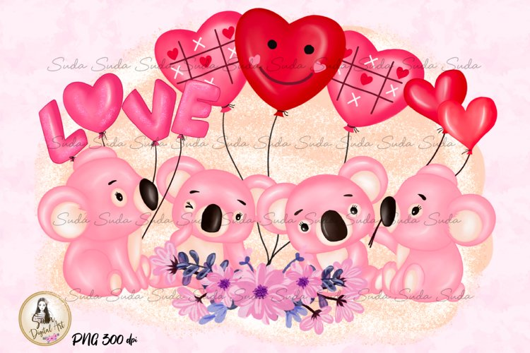 Cute Koala Valentines Day Sublimation