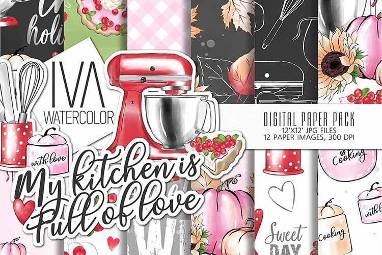 Thanksgiving digital paper, Kitchen Bakery Digital paper example image 1