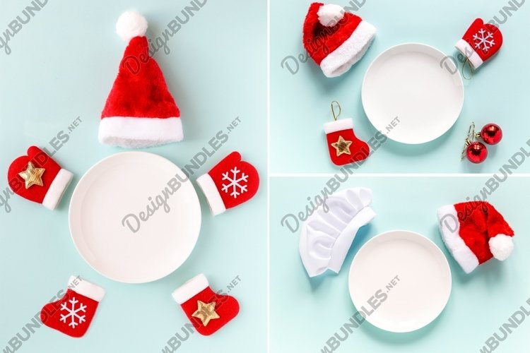 White plate with chef hat, Santa hat and new year decor example image 1