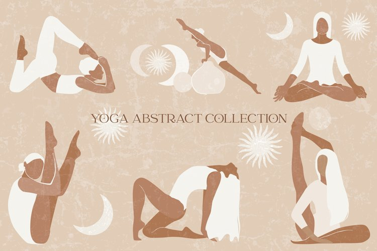 Yoga abstract graphic collection. Magic abstract woman