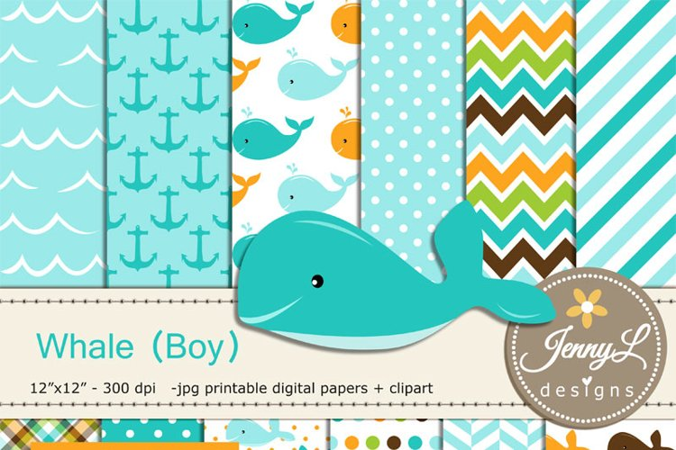 Whale Boy Digital papers and Clipart SET, Anchor, water wave, Animal for Birthday, Baby Shower, baptism Scrapbookin, Planner