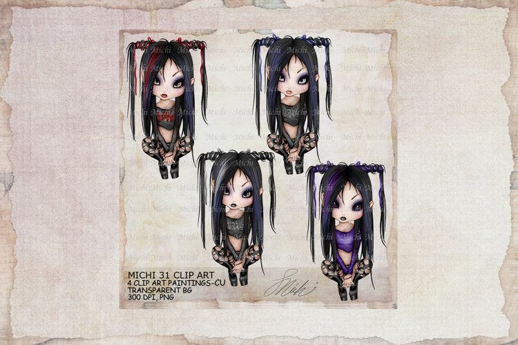 Michi 31 Gothic Clip Art, Journal, sublimation example image 1