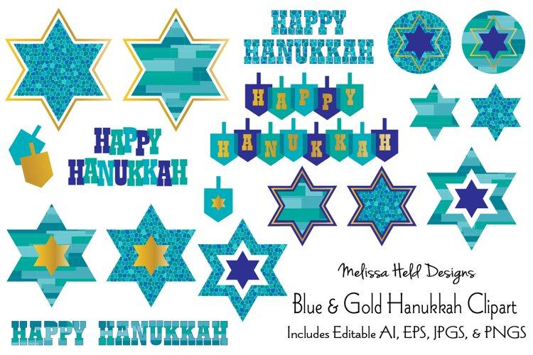 Blue   Gold Hanukkah Clipart