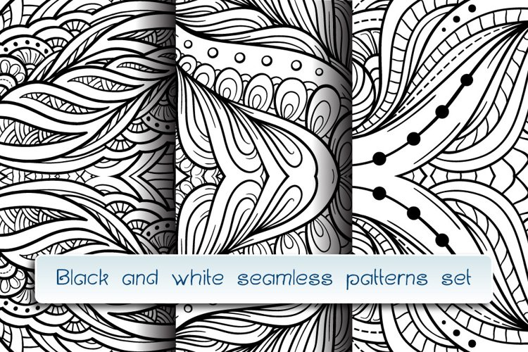Black and white abstract doodles patterns mini-set example image 1