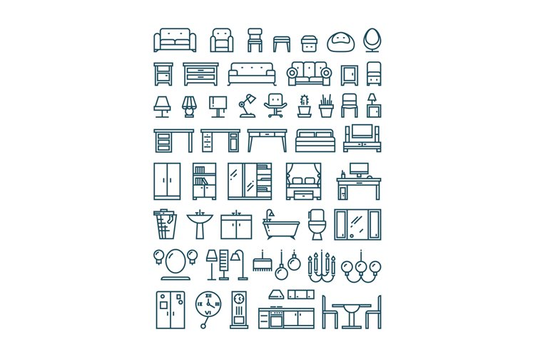 Furniture and sanitary line thin vector icons example image 1