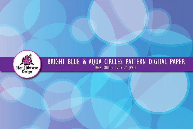 Blue Circles Abstract Graphic Background Digital Paper