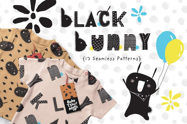 Black Bunny Patterns and Illustrations example image 1
