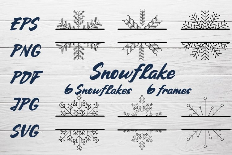 Snowflake SVG and Christmas frames SVG collection example image 1