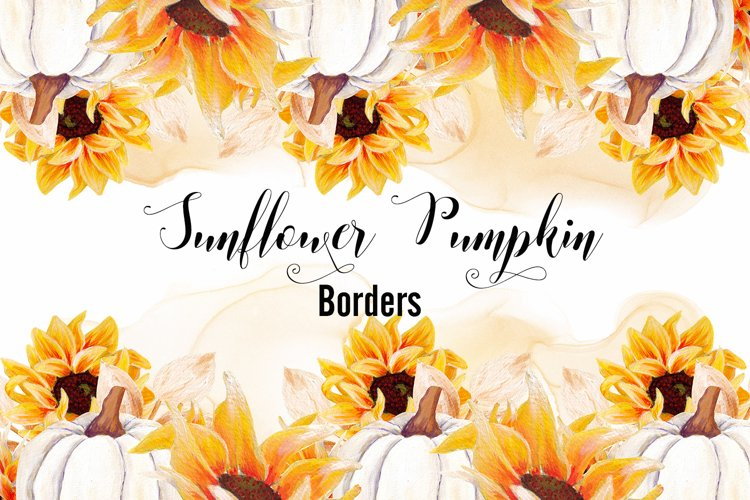 Sunflower Pumpkin- Watercolor Borders