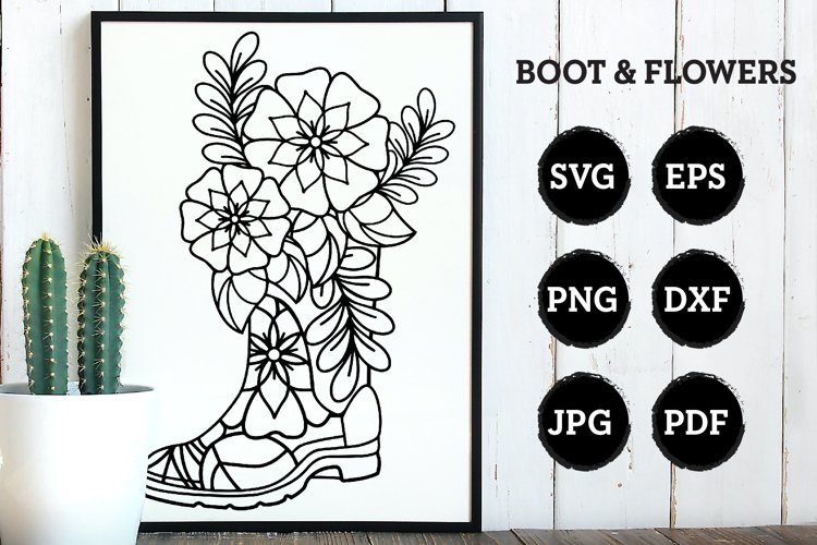 Zentangle Flower in Boot - An SVG Cut example image 1