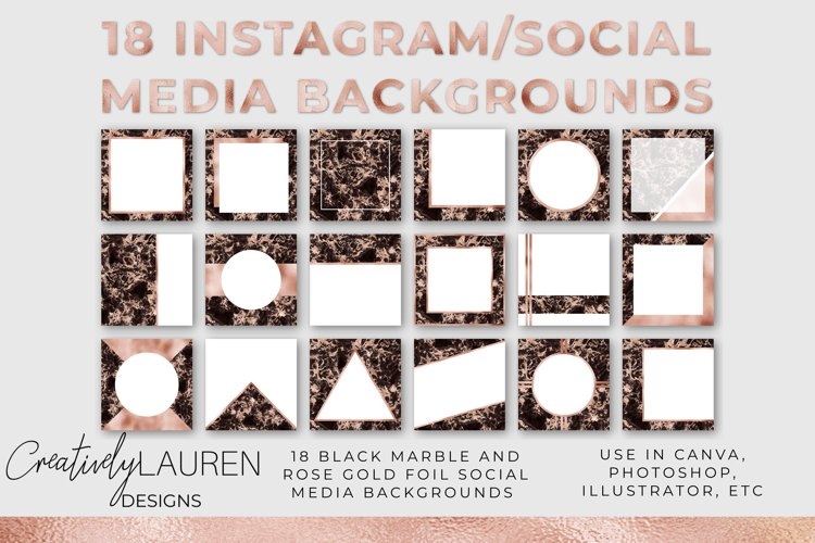 Veined Black Marble and Rose Gold Foil Instagram Template