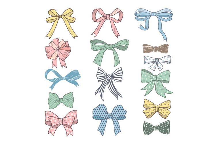 Holiday bows and ribbons in cartoon style. Vector pictures s example image 1
