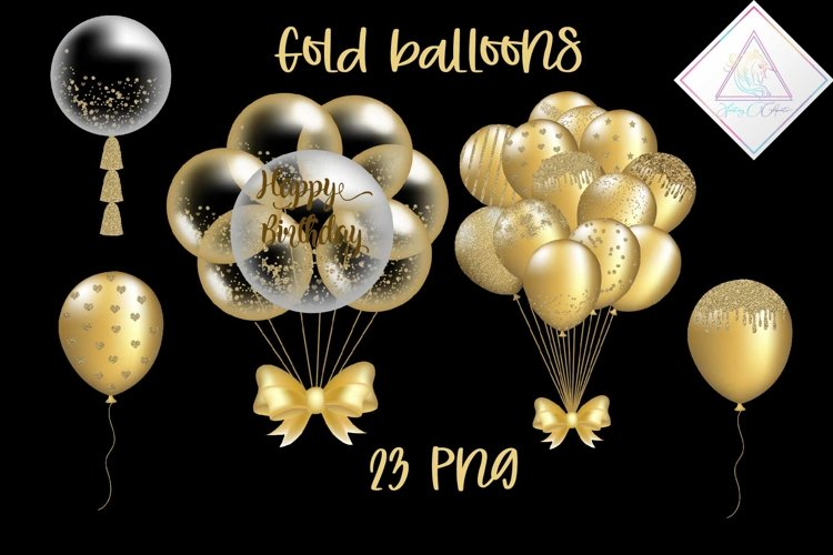 Gold Balloons Clipart example image 1