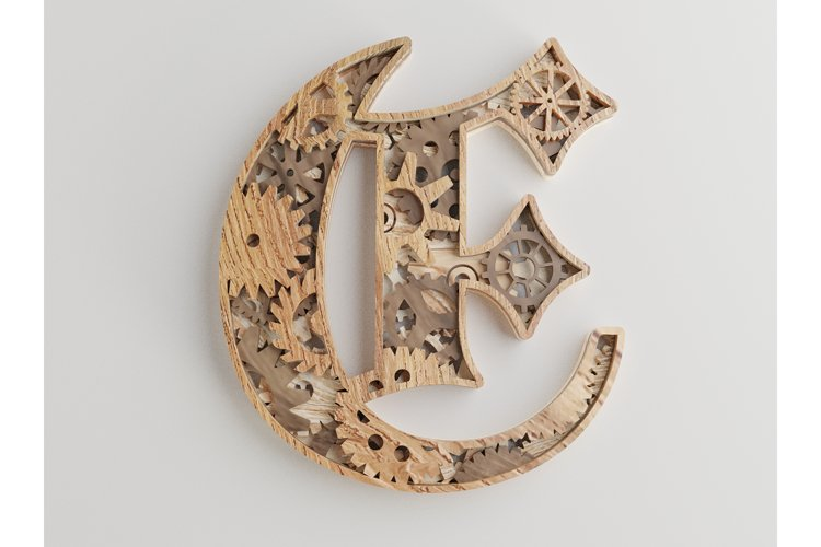Layered Letter E- 5 layers - SteamPunk Alphabet - laser cut example image 1
