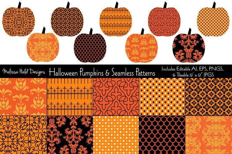 Halloween Pumpkins & Seamless Patterns example image 1