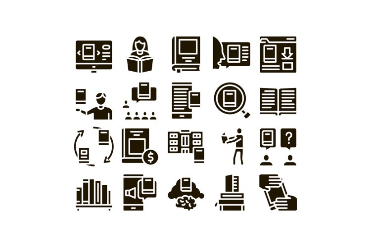 Reading Library Book Glyph Set Vector example image 1
