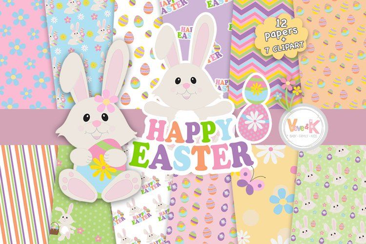 Easter Bunny Clip Art, Easter Clipart, Bunny Clipart, Spring Clipart, Egg Hunt, Easter Bunny, Easter Papers, Spring Digital Papers, Spring