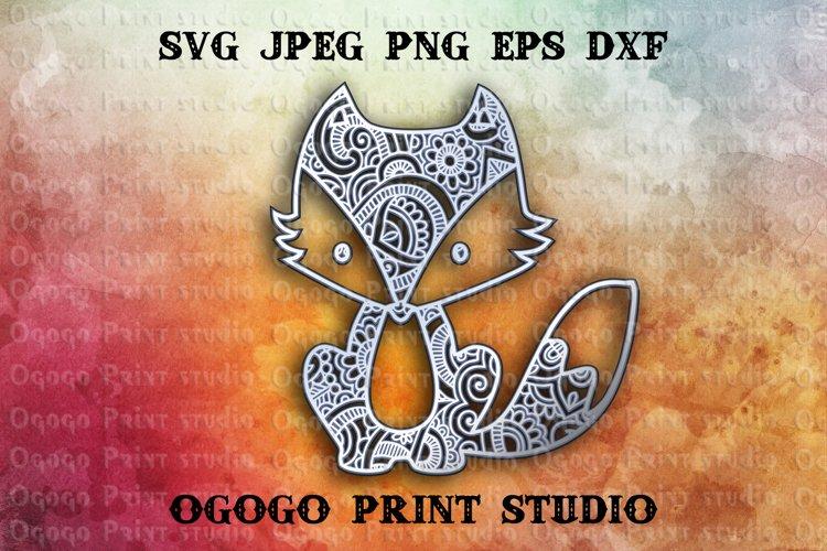 Fox Svg - 3D Layered Mandala SVG cut file 3 layers example image 1