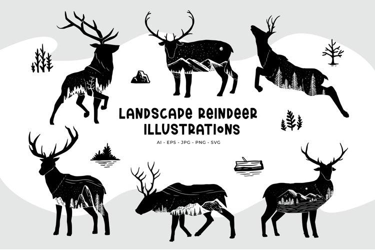 Landscape Reindeer Illustrations