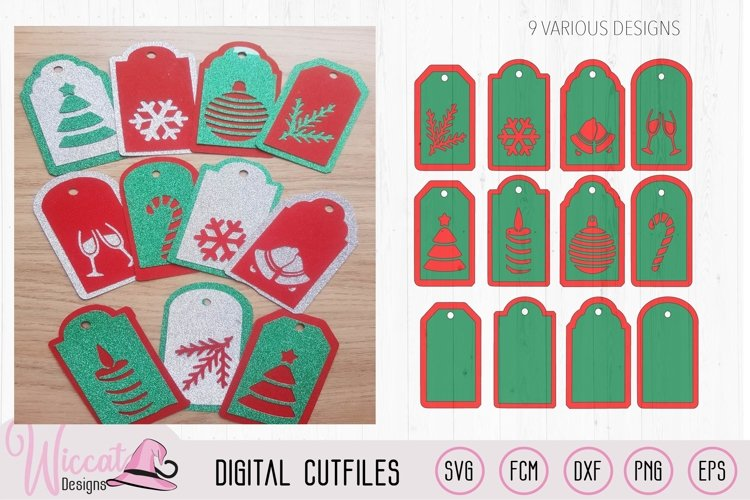 Christmas gift tags cut file, 9 different gift tags