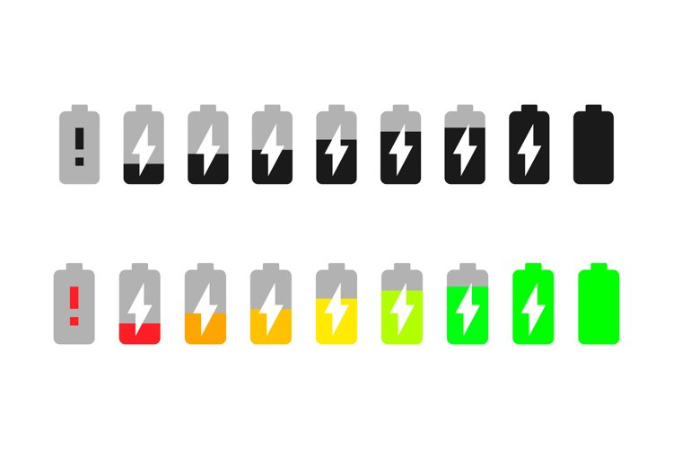 Battery charge vector icons set. Battery charge symbol example image 1