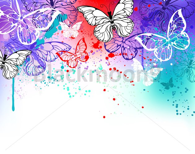 Butterflies on Watercolor example image 1