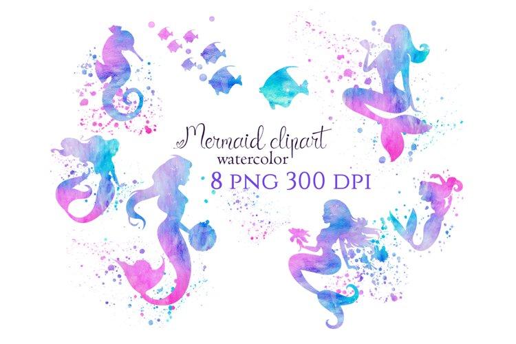 Mermaid clipart, mermaid sublimation download, watercolor
