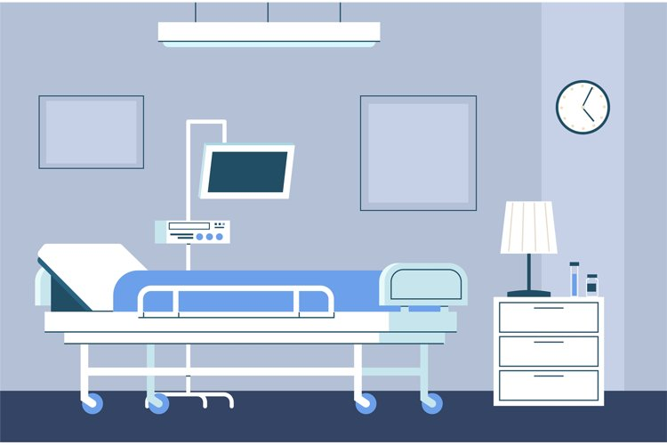 Hospital room interior. Modern intensive therapy ward with b example image 1