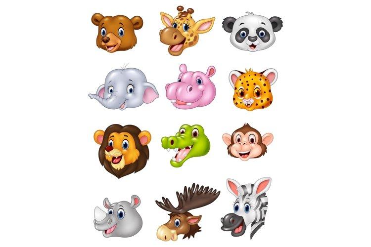 Cartoon Wild Animal Head Vector Set