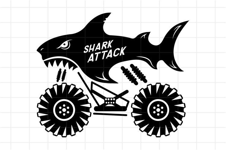 Bigfoot monster truck SVG, shark attack cut file for Cricut