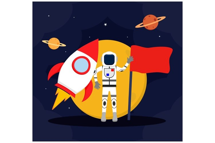 Astronaut Outer space Spacecraft with carry a flag flat example image 1