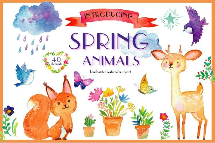 Spring animals. Deers, birds, bear, squirrel etc