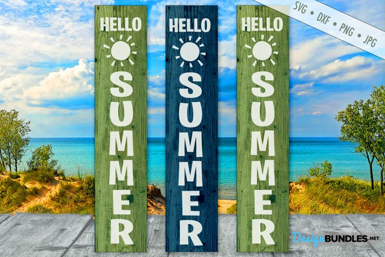 Hello Summer SVG | Porch Sign SVG | Vertical SVG example image 1