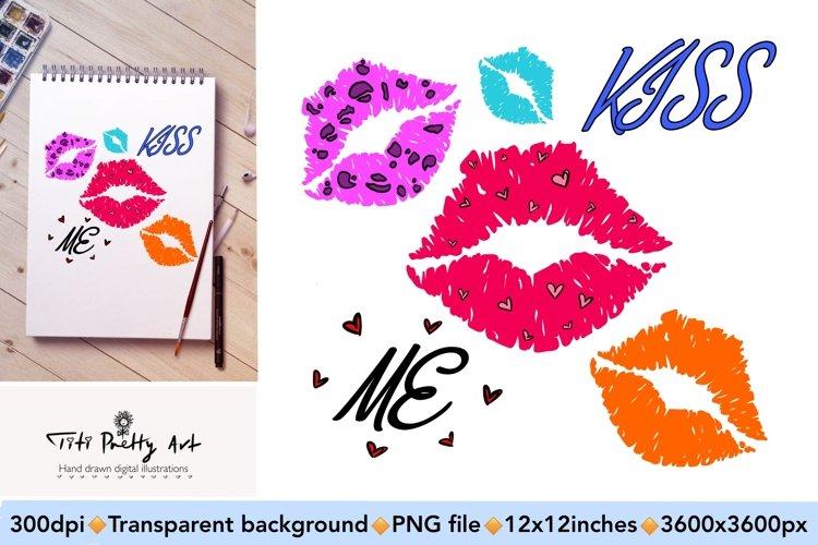 Kiss Me Lips Sublimation Design PNG, Valentines Day Bundle