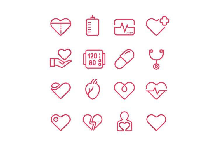 Cardiology medicine vector line icons. Cardiologist and hear