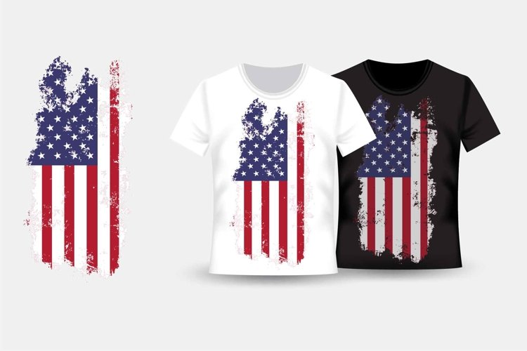 Apparel print with grunge american flag example image 1