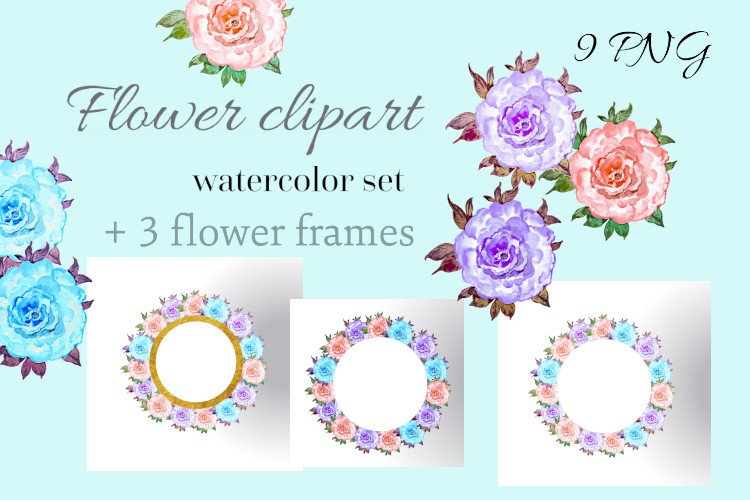 Floral clipart for a wedding made of watercolor roses example image 1