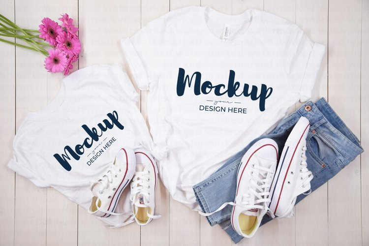 Mommy and Me Casual Shirt Mockup, BC 3001T & 3001 White