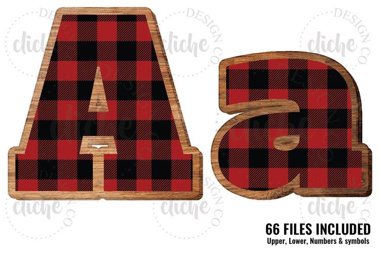 Buffalo Plaid Wooden Alphabet Sublimation Set