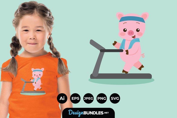 Pig Doing Exercise Illustrations for T-Shirt Design